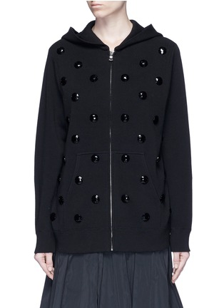 Main View - Click To Enlarge - Marc Jacobs - Jewel embellished zip-up knit hoodie