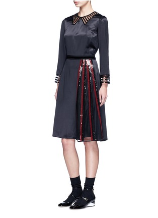 Figure View - Click To Enlarge - Marc Jacobs - Sequin mesh insert waist tie dress