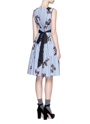 Back View - Click To Enlarge - Marc Jacobs - Flocked floral print gingham poplin bow dress