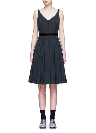 Main View - Click To Enlarge - Marc Jacobs - Velvet waist tie faille dress