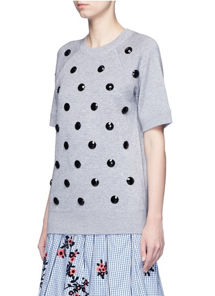 Front View - Click To Enlarge - Marc Jacobs - Embellished cotton blend mélange sweatshirt