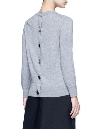 Back View - Click To Enlarge - MARC JACOBS - Jewel button back wool sweater