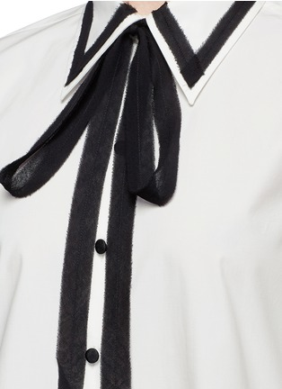 Detail View - Click To Enlarge - Marc Jacobs - Silk trim neck tie cotton shirt