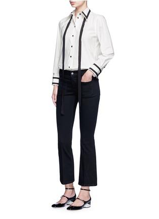Figure View - Click To Enlarge - Marc Jacobs - Silk trim neck tie cotton shirt