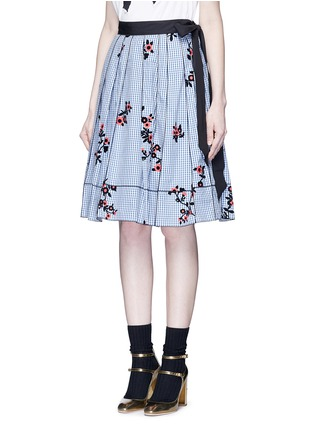 Front View - Click To Enlarge - Marc Jacobs - Floral gingham print flared skirt