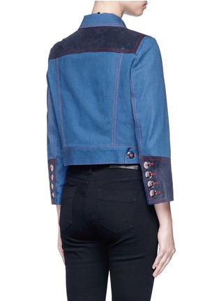 Back View - Click To Enlarge - Marc Jacobs - Oversized suede patchwork cropped denim zip jacket