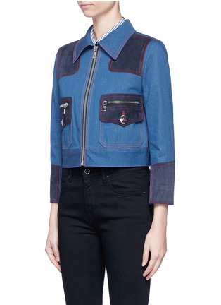 Front View - Click To Enlarge - Marc Jacobs - Oversized suede patchwork cropped denim zip jacket