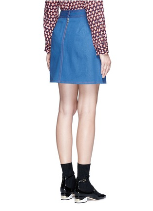 Back View - Click To Enlarge - MARC JACOBS - Suede patchwork zip denim skirt