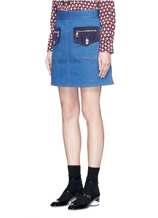 Front View - Click To Enlarge - MARC JACOBS - Suede patchwork zip denim skirt