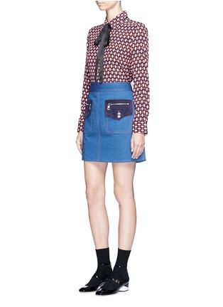 Figure View - Click To Enlarge - Marc Jacobs - Suede patchwork zip denim skirt