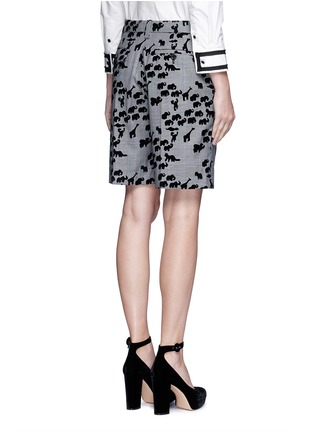 Back View - Click To Enlarge - Marc Jacobs - Flocked animal print glen plaid wool shorts