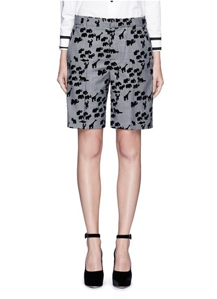 Main View - Click To Enlarge - Marc Jacobs - Flocked animal print glen plaid wool shorts