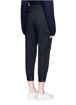 Back View - Click To Enlarge - Stella McCartney - Zip cuff cropped cargo wool pants