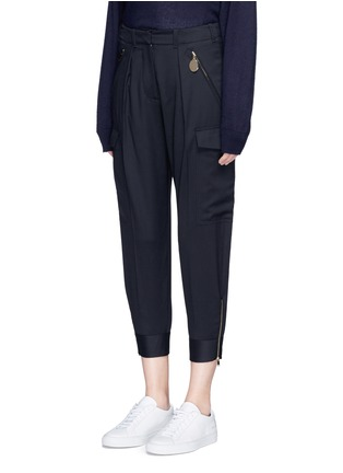 Front View - Click To Enlarge - Stella McCartney - Zip cuff cropped cargo wool pants