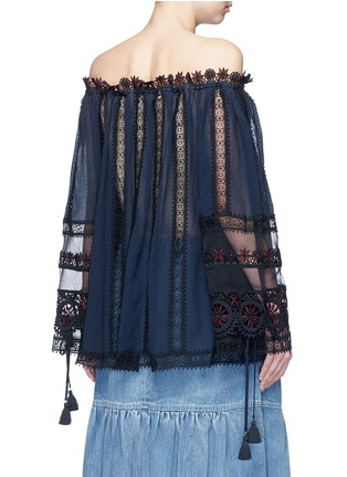 Back View - Click To Enlarge - Chloé - Embroidered trim off-shoulder top