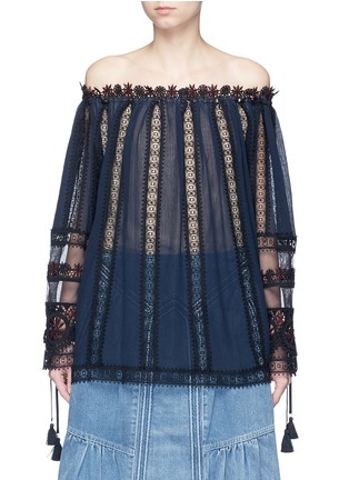 Main View - Click To Enlarge - Chloé - Embroidered trim off-shoulder top