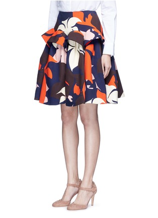 Front View - Click To Enlarge - DELPOZO - Ruffle trim abstact floral print skirt