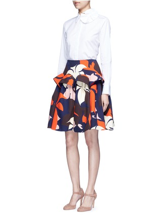 Figure View - Click To Enlarge - DELPOZO - Ruffle trim abstact floral print skirt