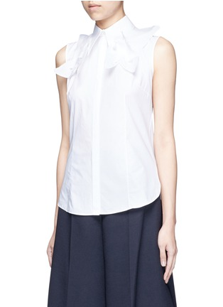 Front View - Click To Enlarge - DELPOZO - Starched floral appliqué poplin sleeveless shirt