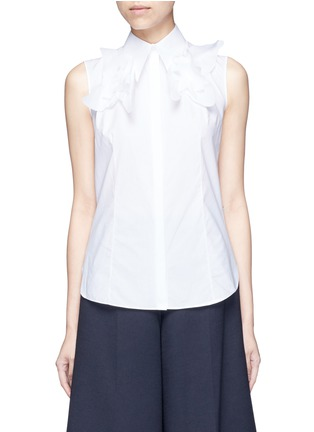 Main View - Click To Enlarge - DELPOZO - Starched floral appliqué poplin sleeveless shirt