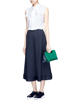 Figure View - Click To Enlarge - DELPOZO - Starched floral appliqué poplin sleeveless shirt