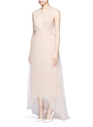 Front View - Click To Enlarge - DELPOZO - Bead paillette back trim tulle dress