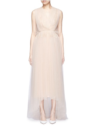Main View - Click To Enlarge - DELPOZO - Bead paillette back trim tulle dress