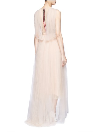 Figure View - Click To Enlarge - DELPOZO - Bead paillette back trim tulle dress