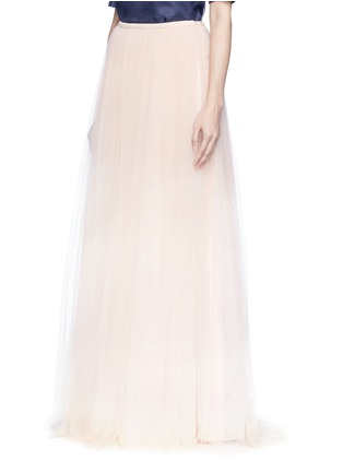 Front View - Click To Enlarge - DELPOZO - Tulle organza combo maxi skirt