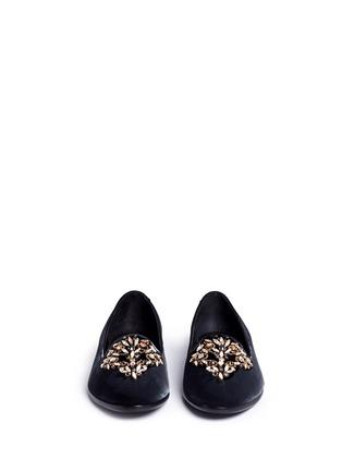 Front View - Click To Enlarge - René Caovilla - Strass embellished velvet slip-ons