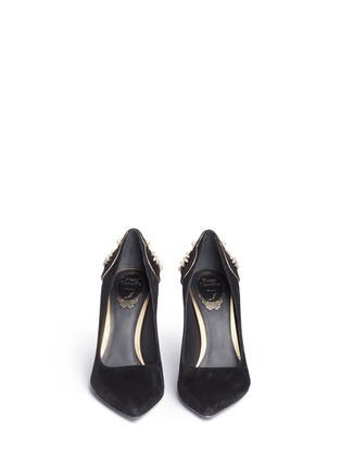 Front View - Click To Enlarge - René Caovilla - 'Deollette' crystal faux pearl embellished suede pumps