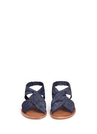 Front View - Click To Enlarge - 10 Crosby Derek Lam - 'Pell' twist denim effect suede slingback sandals