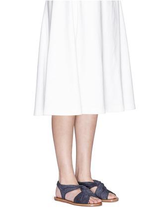 Figure View - Click To Enlarge - 10 Crosby Derek Lam - 'Pell' twist denim effect suede slingback sandals