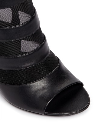 Detail View - Click To Enlarge - BALENCIAGA - Leather stripe mesh wedge slingback mule sandals