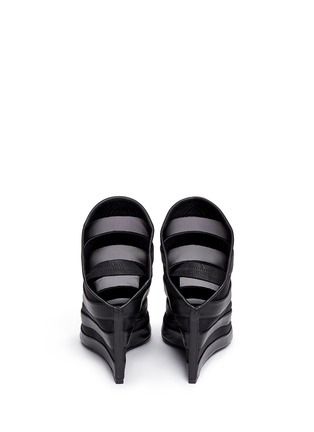Back View - Click To Enlarge - BALENCIAGA - Leather stripe mesh wedge slingback mule sandals