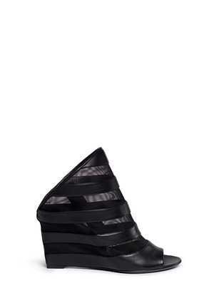 Main View - Click To Enlarge - Balenciaga - Leather stripe mesh wedge slingback mule sandals