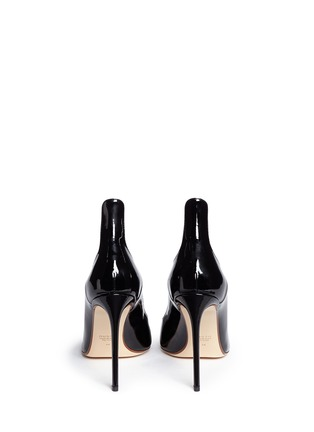 Back View - Click To Enlarge - Francesco Russo - Arched collar patent leather pumps