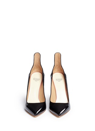 Front View - Click To Enlarge - Francesco Russo - Arched collar patent leather pumps
