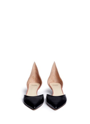 Front View - Click To Enlarge - Francesco Russo - Colourblock leather suede d'Orsay pumps
