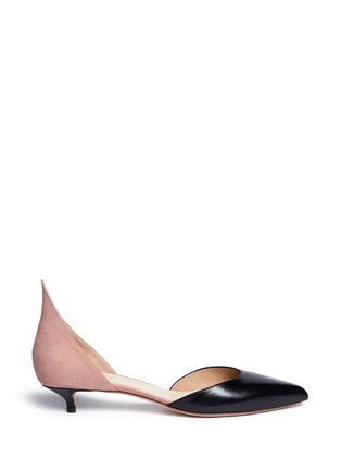 Main View - Click To Enlarge - Francesco Russo - Colourblock leather suede d'Orsay pumps