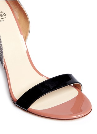 Detail View - Click To Enlarge - Francesco Russo - Patent trim snakeskin leather sandals