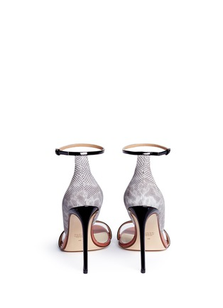 Back View - Click To Enlarge - Francesco Russo - Patent trim snakeskin leather sandals