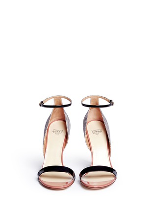 Front View - Click To Enlarge - Francesco Russo - Patent trim snakeskin leather sandals