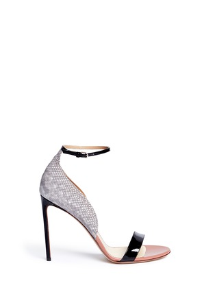 Main View - Click To Enlarge - Francesco Russo - Patent trim snakeskin leather sandals