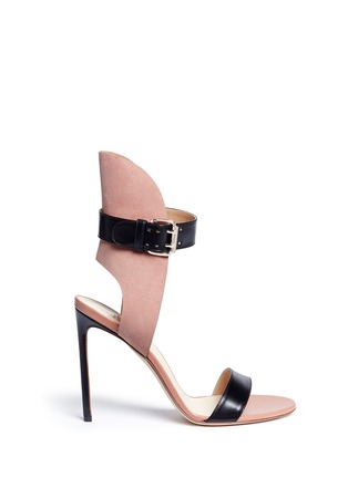 Main View - Click To Enlarge - Francesco Russo - Ankle strap leather suede sandals