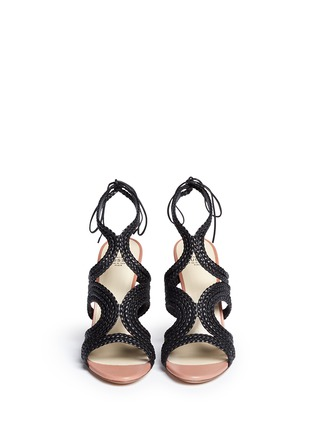 Front View - Click To Enlarge - Francesco Russo - Braided leather sandals