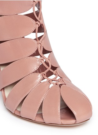 Detail View - Click To Enlarge - FRANCESCO RUSSO - Caged kid leather sandal booties