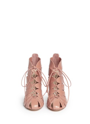 Front View - Click To Enlarge - FRANCESCO RUSSO - Caged kid leather sandal booties