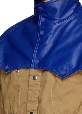 Detail View - Click To Enlarge - Sacai - Leather Western yoke storm flap field jacket