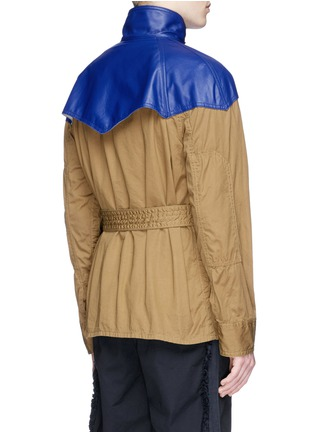 Back View - Click To Enlarge - Sacai - Leather Western yoke storm flap field jacket